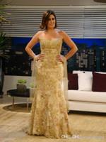 Sirène D'or En Dentelle Élégant Formelle Robes De Soirée Africaines Longues Strass 2019 Nouveau Sexy Zuhair Murad Robes De Bal Liban