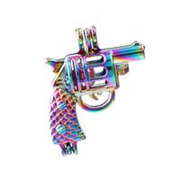 Nuovo colore dell'arcobaleno della pistola Pearl Cage sospensione Diffusore Medaglioni per Aromaterapia Profumo essenziale olio collana Fare