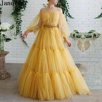 Vestidos de festa Janevini Fluffy Gold Uma linha Prom 2021 Ilusão frisada Transparente Tule Manga Longa Robes Dubai Graduação Vestido de Noite