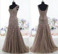 Tatsächliche Bilder 2019 Vintage Mutter der Braut-Kleid-Nixe V-Ausschnitt Applique Perlen Tüll Korsett Gewohnheit Mutter-Kleid-formale Abendkleider