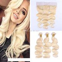 Virgen brasileña del cabello # 613 rubio pelo humano de la onda de cierre 3 paquetes con encaje frontal Bleach Rubio Cuerpo Tejidos cabello con 13 * 4 frontal del cordón