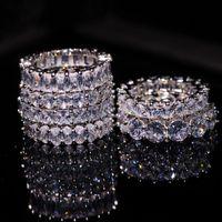 Taille 5-12 Bijoux de luxe en forme de Pierre multi-pierres 925 Sterling Silver Princess Blanc Topaz CZ Diamond Gemstones Promise Femme De Mariage Banding Bague Set