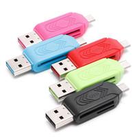 2-IN-1 Mikro USB 2.0 OTG TF SD SDXC Hafıza Kartı Okuyucu PC Android Smartphone Için Çok fonksiyonlu Kart Okuyucu