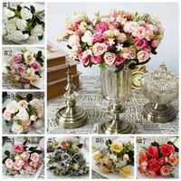 Rose soie fleurs artificielle pivoine petit Bouquet Flores De Mariage Décoratif Fleur De Mariage Décorations Parti Fournitures 7 Couleurs 6 pc DSL-YW1494