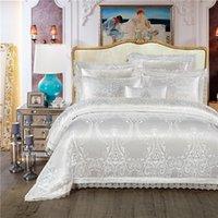 King Queen Size Bianco Biancheria da letto rossa Set di letti di cerimonia nuziale di lusso Set di letti di cotone Jacquard Cover Cover Duvet Set Bedlinen Bedlinen Bed Cover Nordico Cama T200706