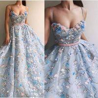 Azul claro elegante vestidos de noche formales 2020 Organza partido de la flor del bordado de vestidos de baile Dressess dulce 16 de los vestidos de los trajes de soirée Banda
