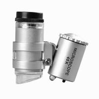 Microscopio 45X Gioielliere Magnifier Gioielli Lenti Mini Lenti d'ingrandimento Microscopi tascabili con luce LED + Custodia in pelle Lente d'ingrandimento