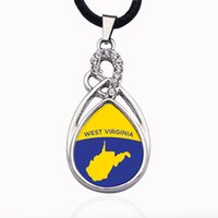 West VIrginia Outline Circle Charm Crystal Collares pendientes para mujeres Vintage Charm Choker Collar Party Jewelry Gift