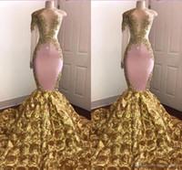 아프리카 인어 댄스 파티 드레스 쉬어 보석 목 금 Appliqued 한 숄더 스위프 기차 3D 꽃 저녁 정장 파티 드레스 미인 대회 드레스