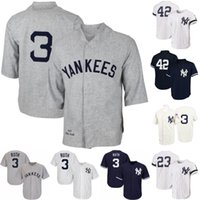 Erkek New York 3 Babe Ruth 12 Wade Boggs 23 Don Mattingly 42 Mariano Rivera 51 Bernie Williams Yankees Retro Beyzbol Formalar S-XXXL