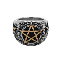 Free shipping Gold Pentagram Amulet Biker Ring Stainless Ste...