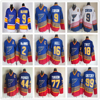 Vintage CCM St Louis Blues 9 Shayne Corson Jerseys Hockey 18 Tony Twist 77 Pierre Turgeon Chris Pronger Stickerei C Patch-Retro Blau