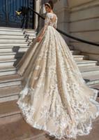 2020 vestido de bola de manga larga de encaje vestidos de boda del traje de mariage apliques Vestido de Noiva De Renda de lujo Vestidos de novia HY230