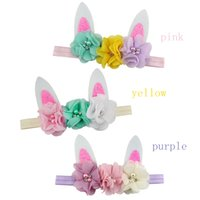 Easter Bunny Sequin Bow Floral Headband Cute Baby Boys Girls...