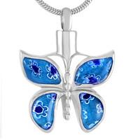 جديدة z526 زرقاء جميلة زجاج مورانو الفراشة الحرق مجوهرات على الحيوانات الأليفة رماد - Engravable الفولاذ المقاوم للصدأ التذكارية جرة قلادة