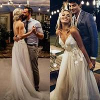 Чешские Boho Спагетти Ремни Свадебные платья 2019 Лето Пляж Аппликация Кружева Невесты Невесты Платье невесты Арабский Страна Boho Свадебные платья