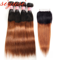 Ombre capelli vergini malesi della vergine 3 fasci con chiusura 1B 27 Miele capelli biondi 1b 30 fasci di capelli umani ombre con chiusura