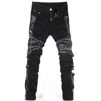 2020 Streetwear Jean calças dos homens Marca Moto Skinny Jeans Men Pu Leather Patchwork preto jeans stretch