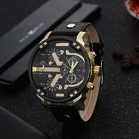 Hot Big Dial Mens Luxury Watch Double Movements Two Times Wr...