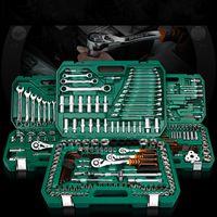 Nuovo kit di strumenti di riparazione AUTO per uso domestico generale con cassetta degli attrezzi in plastica Custodia per chiavi a bussola Chiave a cricchetto Cacciavite Set di utensili a mano