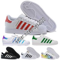 2018 Adidas Men Women shoes Superstar Holograma blanco Iridiscente Junior Superstars 80s Pride Sneakers Super Star Mujeres Hombres Deporte Zapatos ocasionales 36-45