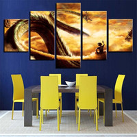 5 Stücke Cartoon Goku und Shen Long Tan Dragon Ball Z Anime Poster Ölgemälde Kunst Leinwand Druck Dekor