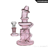 18cm grand verre rose recycleur Bong Saml recycleur Dab Rig Smoking Water Pipe Belle barboteur taille commune 14.4mm PG5016N