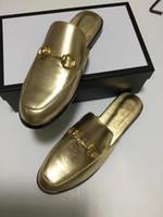 Erkek tüm altın deri terlik katır tasarımcı katır terlik makosenler altın katır Büyük boy EUR34-46 rahat ayakkabı luxuy womens