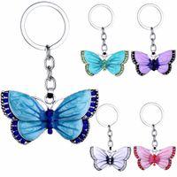 Mariposa alta calidad de los llaveros de cristal anillos de la mariposa del Rhinestone joyería pendiente del encanto llaveros Llavero de Navidad de Navidad de regalo