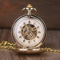 Antiek Gouden Glad Case Romeinse nummer Hand Wind Mechanical Pocket Watch Vintage Dubbele Open Hunter Case Fob Horloges Unisex
