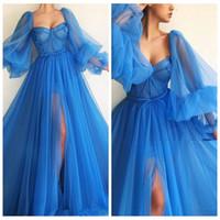 2020 Sexy Sheer Long Sleeves A-Line Vestidos de baile Split Sexy Princess Women Evning Party Gown Custom Robe De Soiree Soft Tulle