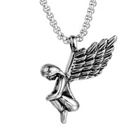 Stainless Steel Titanium Angel' s Wings Man Men Necklace...