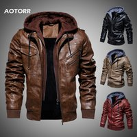 남성 가죽 재킷을 겨울 가을 캐주얼 오토바이 재킷 PU 따뜻한 코퍼 후드 코트 2019 년 새로운 남성 의류