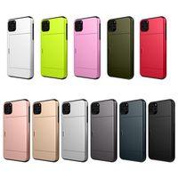 Fashion Borste ShockoProof Wallet TPU + PC Slot Kreditkort Telefon Väskor till Apple iPhone 7Plus 8 x XR max 11 12