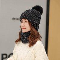 Şapka, Atkılar Eldiven Setleri 2021 Kore Kış kadın Şapka Eşarp Set Kadın Kız Sıcak Beanies ve Yüzük Ponpon Şapkalar için