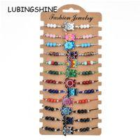Boemia 12 pz / lotto Turtle Animal Charms Bracciale intrecciato per le donne Bambino perline di cristallo Corda regolabile catena Yoga cavigliera gioielli
