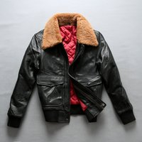Avirex  flight jacket fur collar genuine leather jacket woman winter sheepskin coat pilot bomber