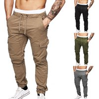 JODIMITTY 2020 Mens-beiläufige festen Multi-Pocket-Hose dünner Kordelzug Cargo Pants Male Herbst-Winter-Jogging Jogginghose 3XL