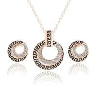 Joyería de dama de honor Collar colgante de boda Pendientes de pulsera hermosa Fiesta como Dubai 18k Joyas de oro Conjuntos de joyas africanas indias