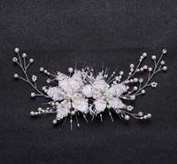Hand-knitted bridal tiara pearl flower hair clip bridal hair accessory