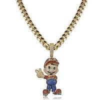 Hip Hop Big Brother Супер ожерелье Brass Золото Серебро покрыло Micro мощеные Циркон Bling Мужчины ювелирные изделия Christmas Party Gift
