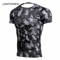 Yeni Spor T Shirt Erkek Sıkıştırma Gömlek Vücut Geliştirme Kamuflaj 3d T Gömlek Erkekler Crossfit Spor Salonları T-Shirt Mma Rashguard Tshirt Y19060601