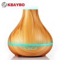 400 ml Flat top luce venatura del Legno Umidificatore Aromaterapia Olio Essenziale Diffusore Ad Ultrasuoni 7 tipi di cambiamento di colore del LED selezione per la casa