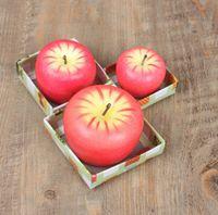 S / m / l أحمر التفاح شمعة مع مربع شكل الفاكهة المعطرة الشموع مصباح هدية الزفاف عيد الميلاد حزب الديكور المنزل بالجملة SN1186
