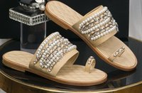 Hot Sale- 2019 newest women leather sandals woman pearl slipp...