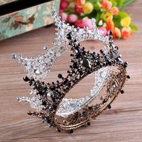 Lujo vintage oro boda aleación de aleación tiara barroco reina rey corona color oro rhinestone tiara corona