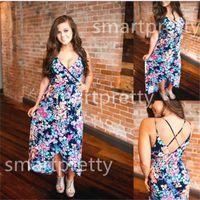 Kadınlar Çiçek Kolsuz Yaz Uzun Elbise Backless Boho Maxi Elbiseler 2020 Akşam Önlük Parti Bohemian elbise Sundress Günlük Elbiseler LY331