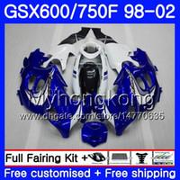 Cuerpo para SUZUKI GSXF 750 600 GSXF750 1998 1999 2000 2001 2002 292HM.54 stock azul blanco GSX 600F 750F KATANA GSXF600 98 99 00 01 02 Carenado