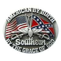 Men Belt Buckle New Vintage US Confederate Rebel Flag Oval B...