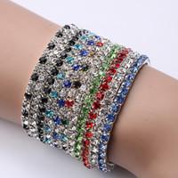 CZ braceletes de diamantes para venda de prata cristal elástico pulseiras pulseiras coloridas para mulheres jóias de prata atacado desconto - 0001GXB